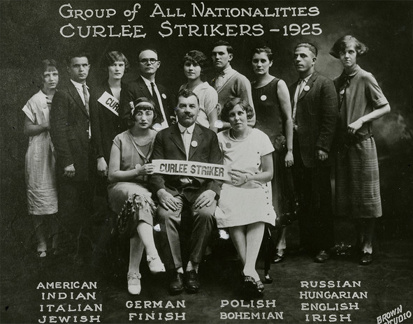 Amalgamated Clothing Workers of America members, representing a wide range of national and ethnic backgrounds, on strike at Curlee Clothing Company, St. Louis, 1925.