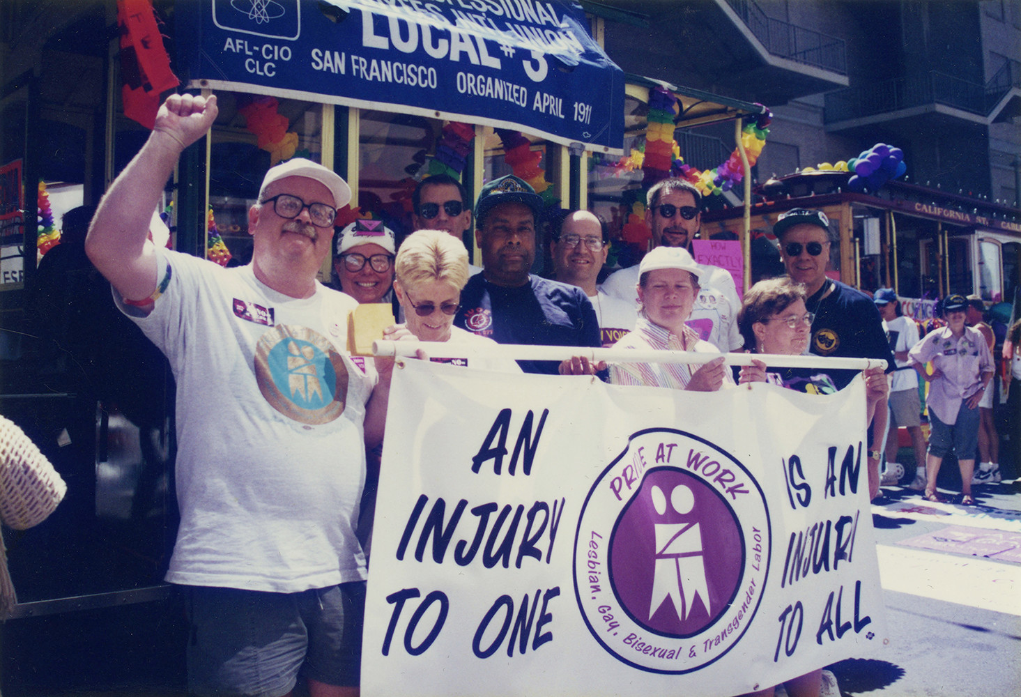 Pride at Work San Francisco Chapter members marching in the San Francisco Pride Parade, 1996. Pride at Work Records.