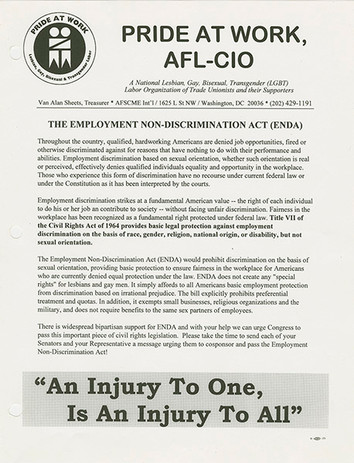 """The Employment Non-Discrimination Act (ENDA)"" flyer. Pride at Work. circa 1999. Pride at Work Records."