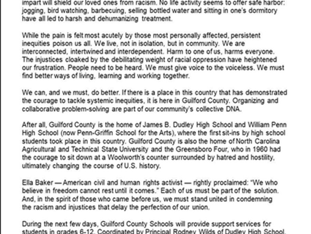 Letter from NC Superintendent on current events.