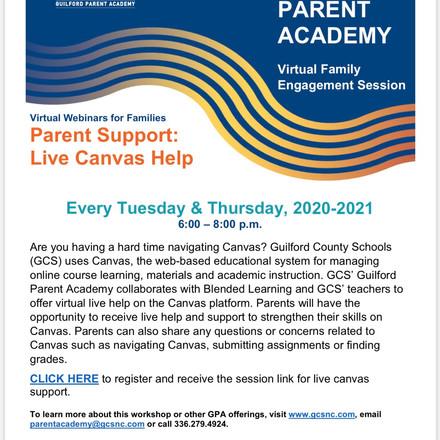 Parent LIVE Canvas Support