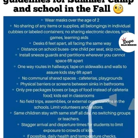 CDC release: summer camp and school in fall guidelines.