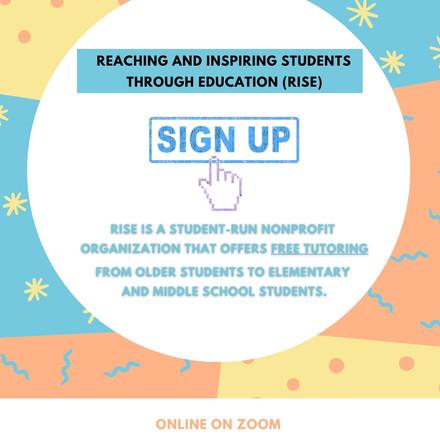 Free Tutoring (RISE) Reaching & Inspiring students through education.