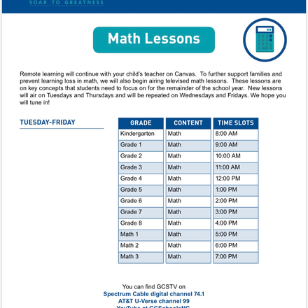 GCStv Math lesson schedule