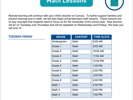 GCStv Math lesson schedule