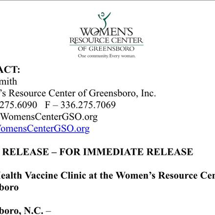 Greensboro Women's clinic Pfizer vaccination