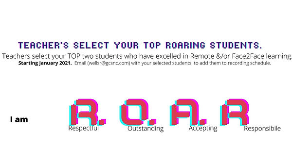 ROARing Student Incentives. teacher role