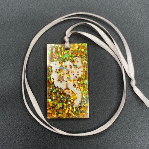 Resin Pendant: Halloween Collection - Rectangle 'Boo'