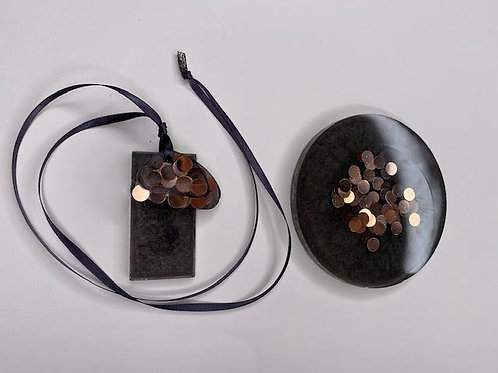 Gift Set: Resin Slice & Triple Decker Pendant - Volcanic Ash & Rose Gold Discs
