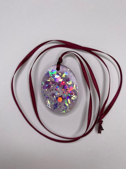 Resin Pendant: Big Opal Oval - Holographic & Chunky Pink Glitter