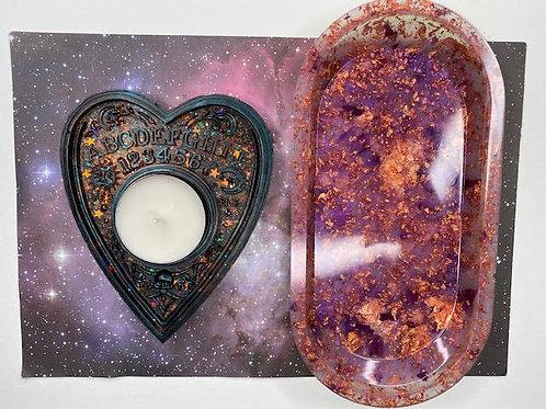 Gift Set:Resin Tray & Ouija Planchette Tealight Holder - Jack-o'-Lantern & Roses