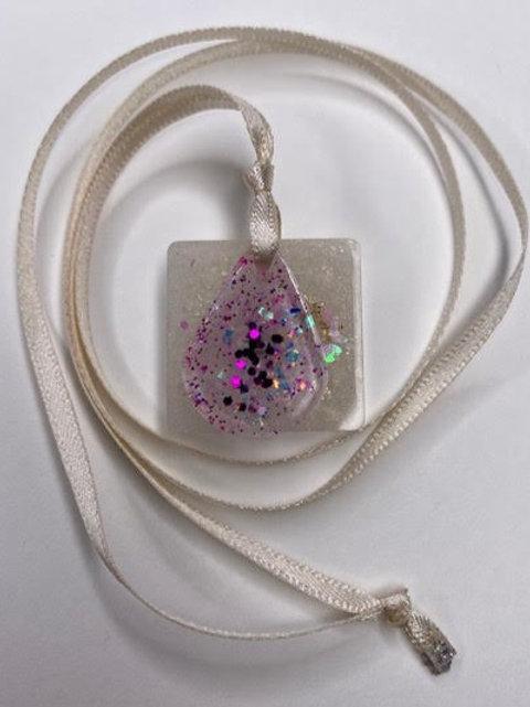 Resin Pendant: Double Decker Square & Teardrop Angel Dust & Lilac