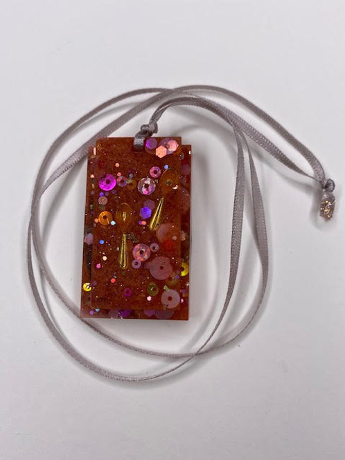 Resin Pendant: Double Decker Rectangles - 'Let's Spoon' Gold & Cherry Glitter