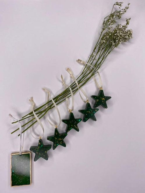 Gift Set: Christmas Collection - Evergreen & Gold Leaf Star Tree Hangings (6pcs)