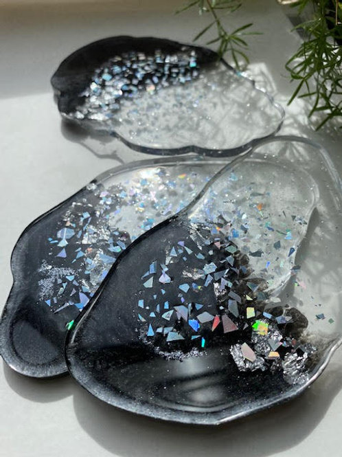Resin Slices: Fade - Dark Matter Black Shimmer & Silver Holographic (3pcs)