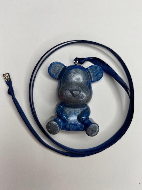 Resin Pendant: Teddy - Smokey Cobalt Blue