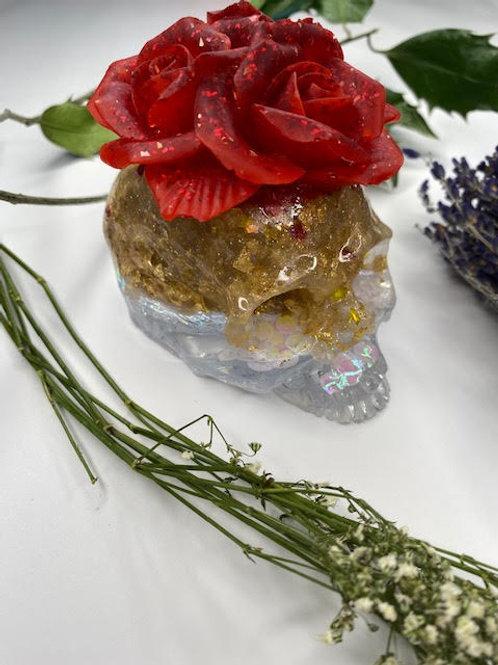 Resin Altar Skull: Ruby Slippers, Gold Leaf & Iridescent Disk Glitter