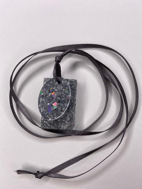 Resin Pendant: Double Decker Oval & Rectangle Silver Leaf