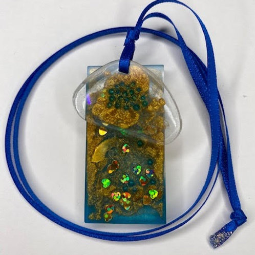 Resin Pendant: Double Decker Oval & Rectangle Blue & Gold