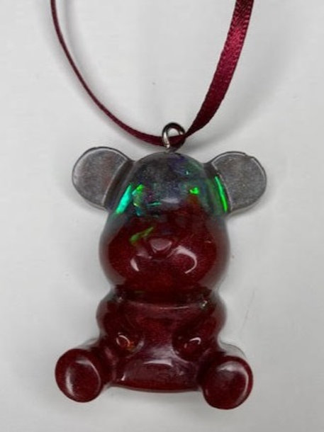 Resin Teddy Pendant: Ruby Red Holographic & Smokey Silver