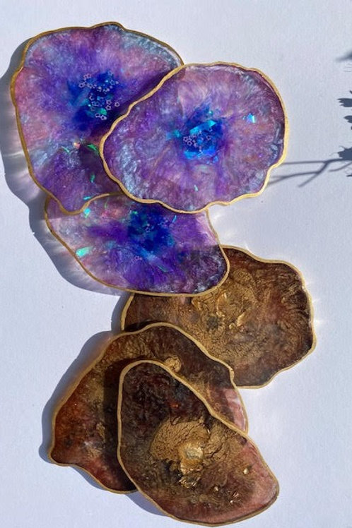 Resin Slices: Two Way - Chocolate Gold Leaf & Galaxy Holographic (6pcs)