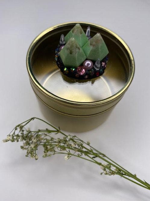 Gem Tin: Crystal Peaked Nest - Apple Mint & Iridescent Diamante