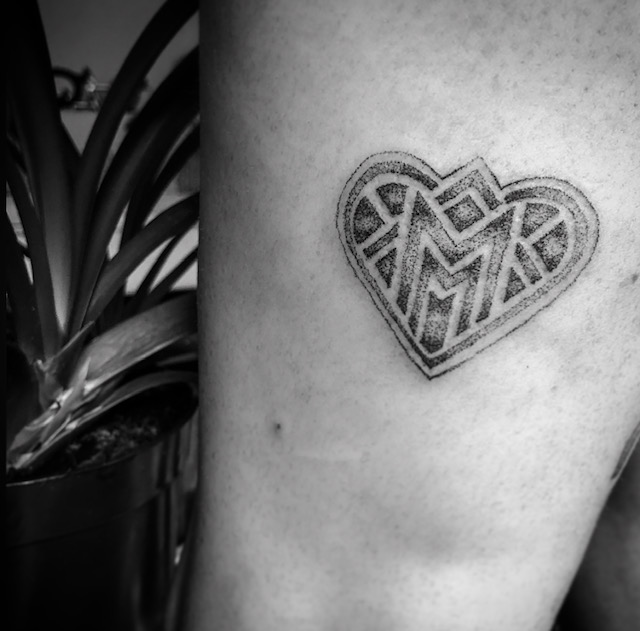 Melbourne Parour logo heart tattoo Your Place To Space tattoo work by Alexandra Godwin