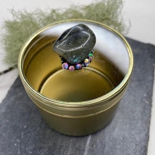 Gem Tin: Labradorite on Diamante Nest