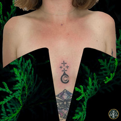 lower sternum solar plexus moon tattoo adornment handpoked your place to space axel handfolk
