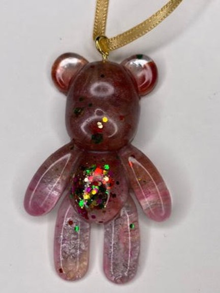 Resin Teddy Pendant: Pink & Multicolour Glitter
