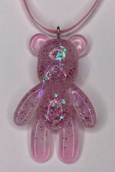 Resin Pendant: Teddy - Pink Glitter & Holographic Moons