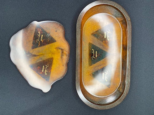 Resin Tray & Slice: Brothers In Arms Charity Gift Set - Chestnut  Fender Picks