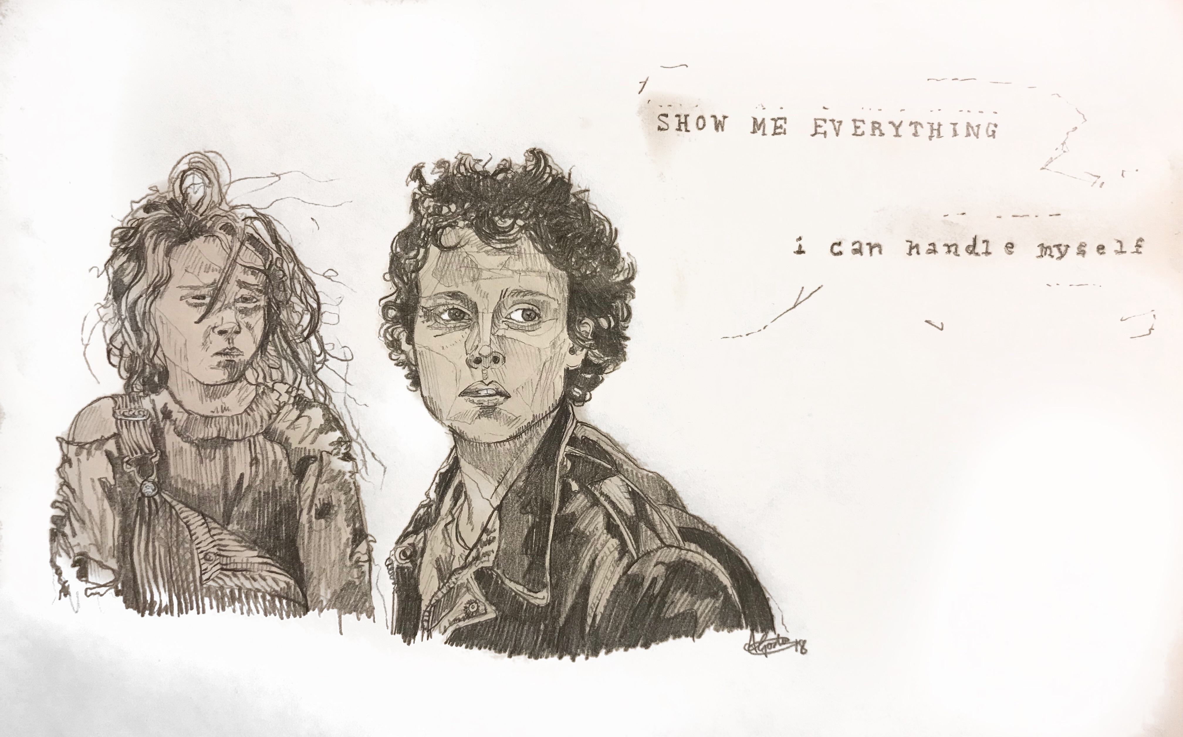 ripley and newt drawing portrait your place to space alexandra godwin