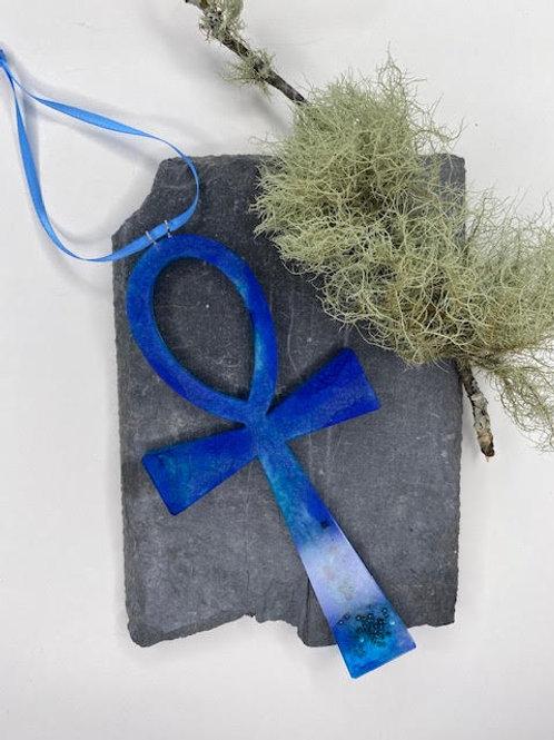 Resin Altar Ankh: Oceanic Blues on Silk Finish Ribbon