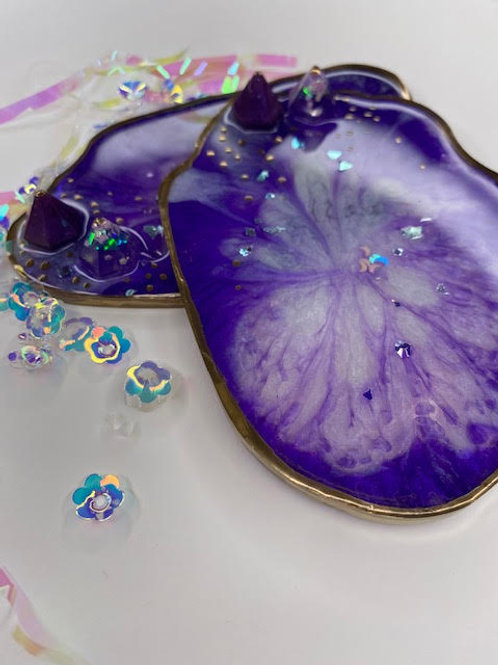 Resin Slices: Royal Purple, Crystal Peaks & Shiny Gold (2pcs)