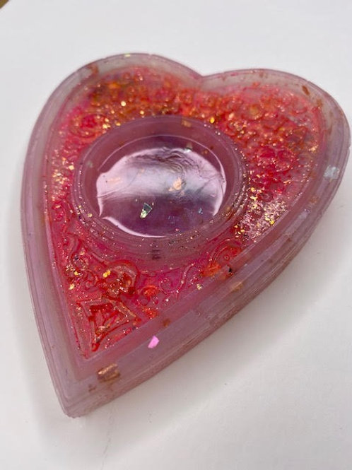 Resin Tealight Holder: Ouija Planchette - Wildflowers, Roses & UV Pink Sparkle