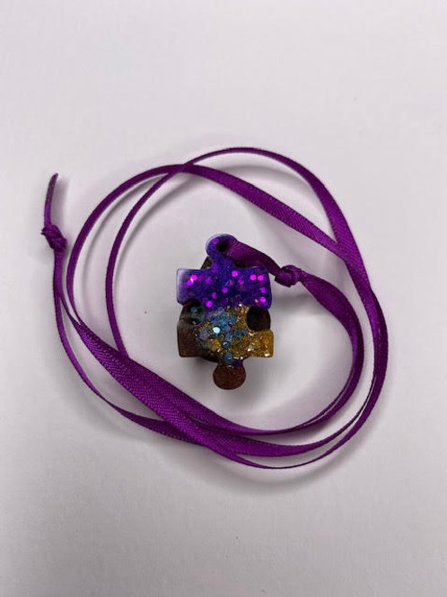 Resin Pendant: Double Decker: Purple Chestnut Jigsaw & Teardrop