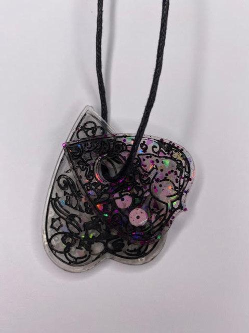 Resin Pendant: Double Decker Ouija Planchettes - Glitter & Black Details