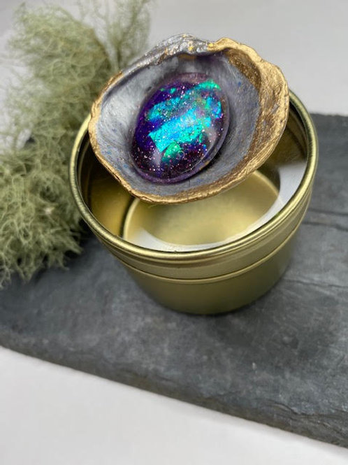 Gem Tin: Large Gold & Silver Shell- Iridescent Galaxy Resin Opal & Diamante Base