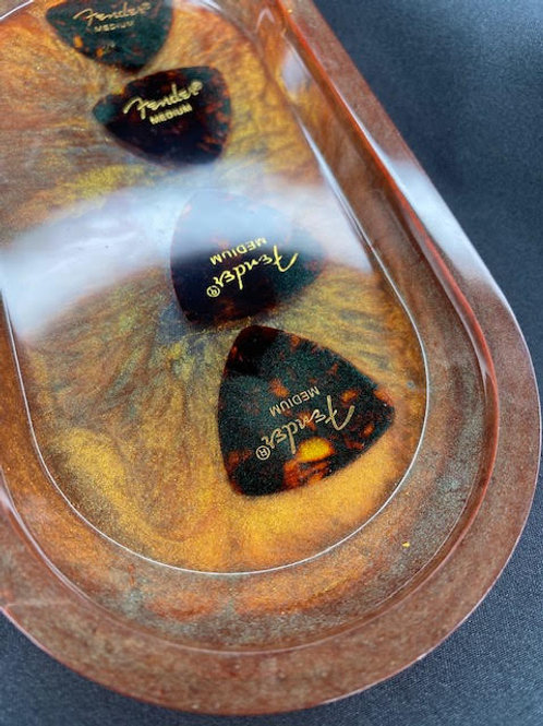 Resin Tray: Brothers In Arms Charity -Chestnut+Tortoiseshell Fender Picks