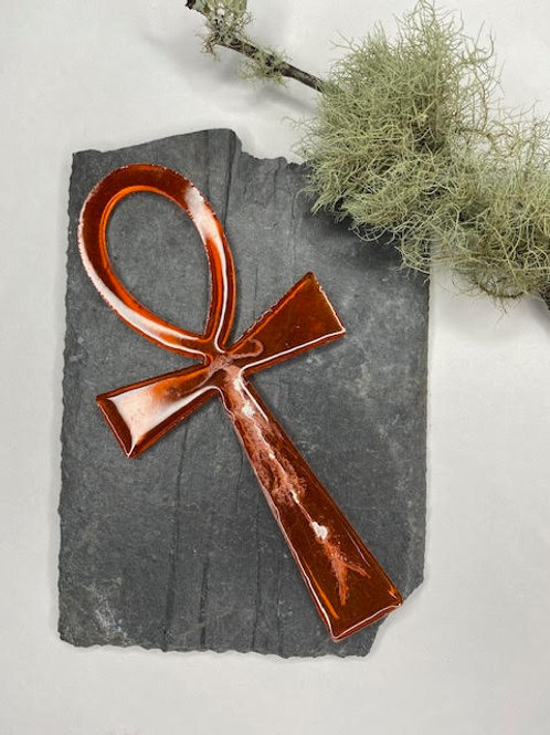 Resin Altar Ankh: Clear Clementine & White Trails