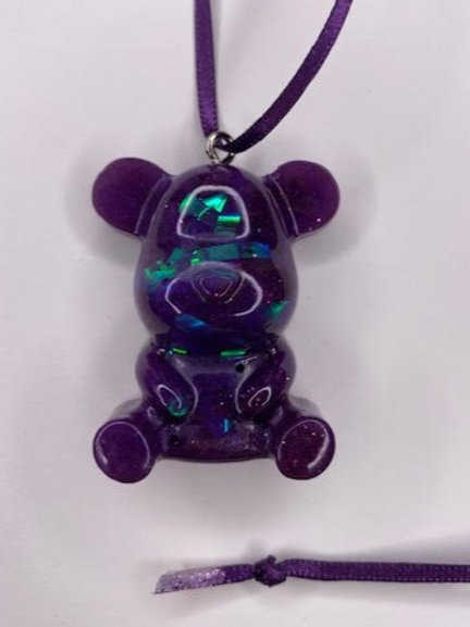 Resin Teddy Pendant: Holographic Purple