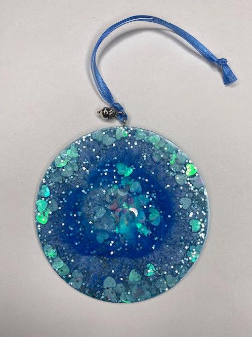 Resin Charm: Christmas Collection - Oceanic Mermaid Blues & Silver Acorn