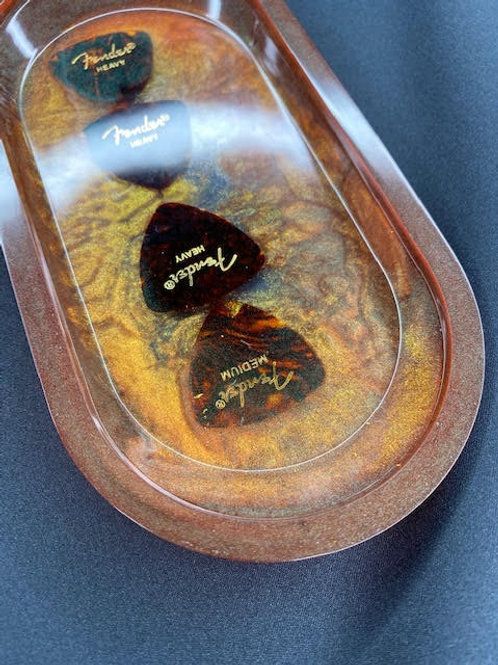 Resin Tray: Brothers In Arms Charity - Chestnut+Tortoiseshell Fender Picks