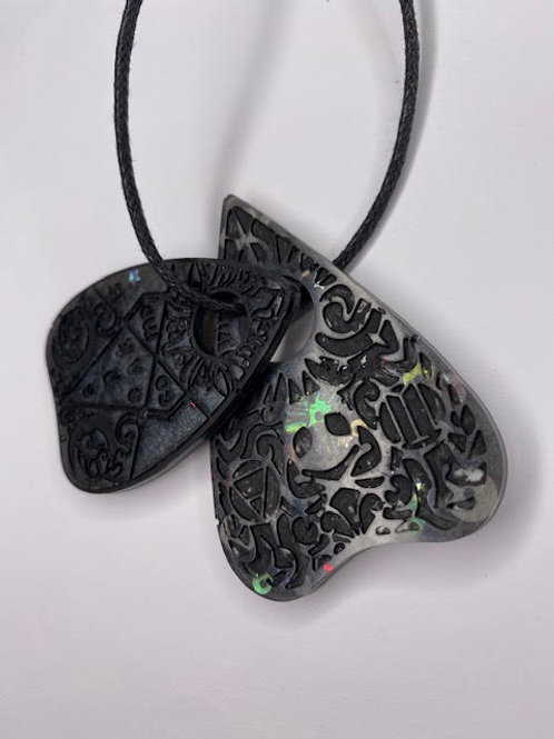 Resin Pendant - Double Decker Ouija Planchettes: Black & Steampunk Glitter