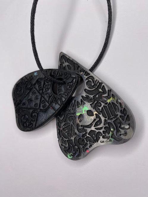 Resin Pendant: Double Decker Ouija Planchettes - Black & Steampunk Glitter