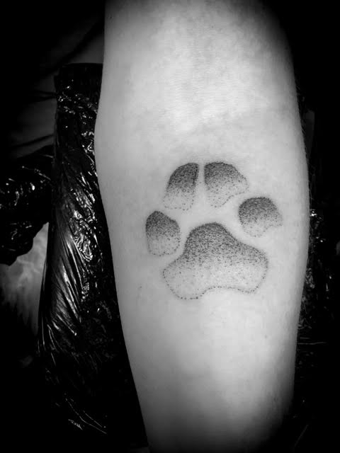 Pawprint tattoo dotwork Your Place To Space tattoo work by Alexandra Godwin