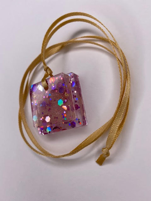 Resin Pendant: Double Decker Squares -Chunky Pink Holographic