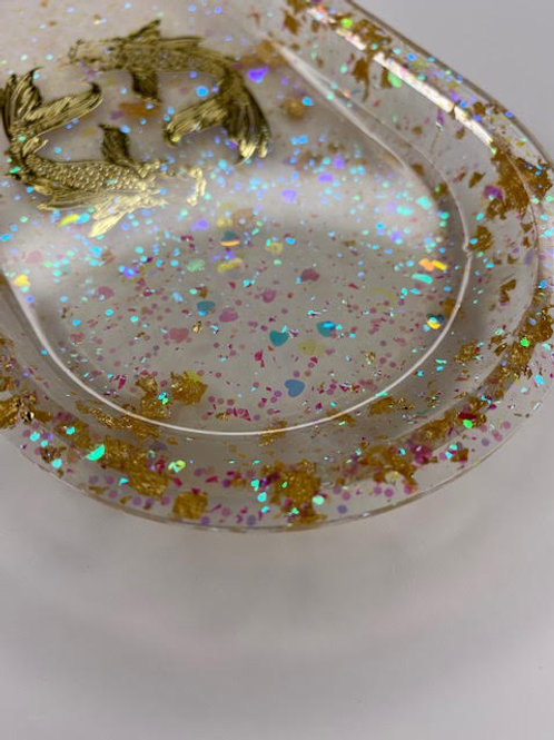 Resin Tray: Gold Leaf Koi & Iridescent Glitter