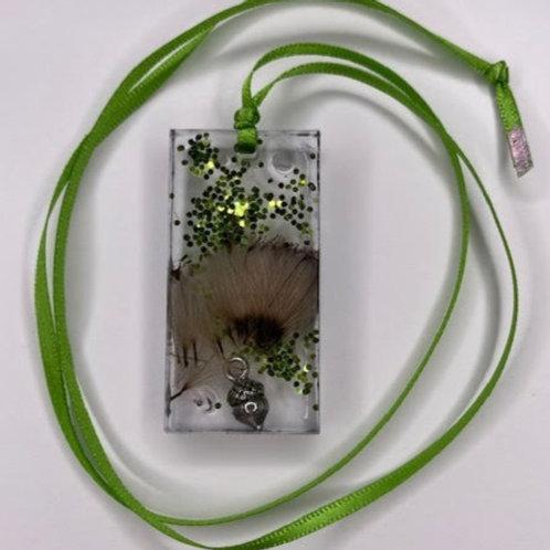 Resin Pendant: Green Glitter Thistle Rectangle